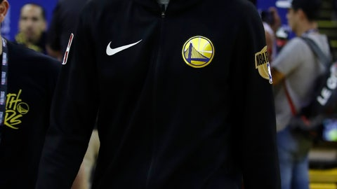 <p>               Golden State Warriors' Klay Thompson walks off the court after practice for the NBA Finals against the Toronto Raptors Thursday, June 6, 2019, in Oakland, Calif. Game 4 of the NBA Finals is Friday, June 7, 2019 in Oakland, Calif. (AP Photo/Ben Margot)             </p>