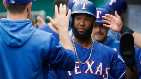 <p>               Texas Rangers' Danny Santana celebrates in the dugout after scoring in the first inning of a baseball game against the Cincinnati Reds, Saturday, June 15, 2019, in Cincinnati. (AP Photo/John Minchillo)             </p>