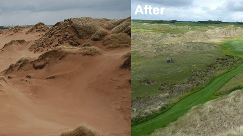 <p>               In this two photo combo as issued by Scottish Natural Heritage, which monitors the country's sensitive and scientifically important sites, said Friday June 28, 2019, that the sand dunes on the golf course owned by U.S. President Donald Trump's family at Menie, Scotland, may lose their legally protected status. The photos issued by SNH show the golf course before and after construction works.  The drifts at the Trump International Golf Links Scotland were considered one of the best examples of moving sand dunes in Britain but they have been severely affected by the course's construction, according to Scottish Natural Heritage. (Scottish Natural Heritage via AP)             </p>