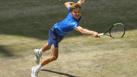 <p>               Belgium's David Goffin is hitting a ball against Italy's Berrettini during the semifinal at the ATP tennis tournament in Halle, Germany, June 22, 2019. (Friso Gentsch/dpa via AP)             </p>