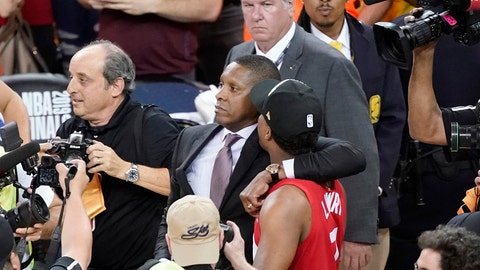 <p>               FILE - This Thursday, June 13, 2019, file photo, Toronto Raptors general manager Masai Ujiri, center left, walks with guard Kyle Lowry after the Raptors defeated the Golden State Warriors in Game 6 of the NBA Finals in Oakland, Calif. An attorney for a deputy involved in an altercation with Ujiri as he tried to join his team on the court to celebrate their NBA championship, said his client suffered a concussion and is on medical leave. Attorney David Mastagni said Tuesday, June 18, 2019, the 20-year-veteran of the Alameda County Sheriff's Office has a jaw injury and is considering filing a lawsuit. (AP Photo/Tony Avelar, File)             </p>