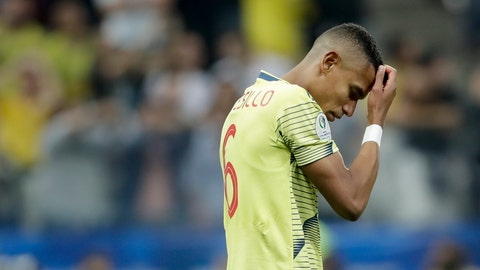<p>               Colombia's William Tesillo looks down after missing his shot during a penalty kick shoot-out against Chile in a Copa America quarterfinal soccer match at the Arena Corinthians in Sao Paulo, Brazil, Friday, June 28, 2019. Chile won 5-4 on penalties after the match ended 0-0. (AP Photo/Andre Penner)             </p>
