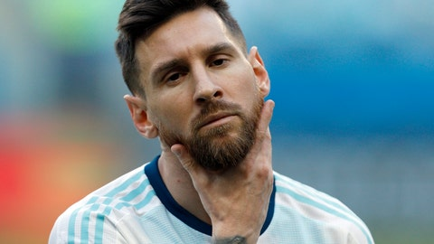 <p>               Argentina's Lionel Messi strokes his beard prior a Copa America Group B soccer match against Qatar at Arena do Gremio, Porto Alegre, Brazil, Sunday, June 23, 2019. (AP Photo/Victor R. Caivano)             </p>