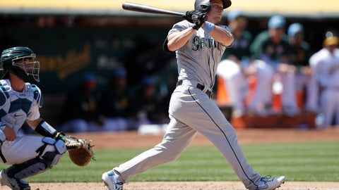 <p>               Seattle Mariners' Kyle Seager watches his two-run double hit off Oakland Athletics' Lou Trivino in the eighth inning of a baseball game Sunday, June 16, 2019, in Oakland, Calif. (AP Photo/Ben Margot)             </p>