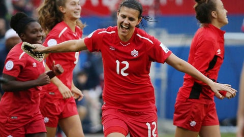 <p>               FILE - In this Oct. 14, 2018, file photo, Canada forward Christine Sinclair (12) celebrates at the conclusion of a soccer match against Panama at the CONCACAF women's World Cup qualifying tournament in Frisco, Texas. The Women's World Cup kicks off Friday, June 7, 2019, in Paris. Twenty-four teams will traverse France for the next month in pursuit of soccer's most prestigious trophy. (AP Photo/Andy Jacobsohn, File)             </p>