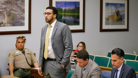 <p>               Ex-NFL player Kellen Winslow II, standing, who was accused of committing several sex crimes against women in North County last year, including rape, answers a question from San Diego County Superior Court Vista Judge Blaine Bowman during a status hearing Friday, June 14, 2019 in Vista, Calif. (Howard Lipin/The San Diego Union-Tribune via AP, Pool)             </p>