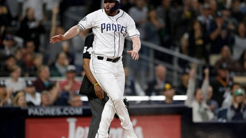 <p>               San Diego Padres' Logan Allen reacts after scoring on a throwing error by Milwaukee Brewers third baseman Mike Moustakas after San Diego Padres' Eric Hosmer lined out during the fifth inning of a baseball game Tuesday, June 18, 2019, in San Diego. (AP Photo/Gregory Bull)             </p>