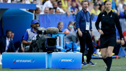 <p>               A cameraman films the Women's World Cup Group F soccer match between Sweden and Thailand at the Stade de Nice in Nice, France, Sunday, June 16, 2019. FIFA has demanded Saudi-backed satellite broadcaster Arabsat stop transmitting pirated feeds of Women's World Cup games from a Qatari network in an ongoing sports television rights dispute linked to the Gulf diplomatic crisis. (AP Photo/Claude Paris)             </p>