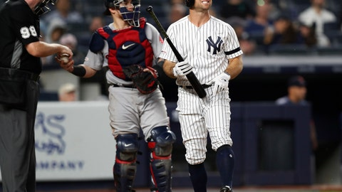 <p>               Home plate umpire Chris Conroy, left, gives a ball to Boston Red Sox catcher Christian Vazquez, center, as New York Yankees Brett Gardner, right, reacts during his at-bat in the seventh inning of a baseball game against the Boston Red Sox, Sunday, June 2, 2019, in New York. Gardner grounded out. (AP Photo/Kathy Willens)             </p>