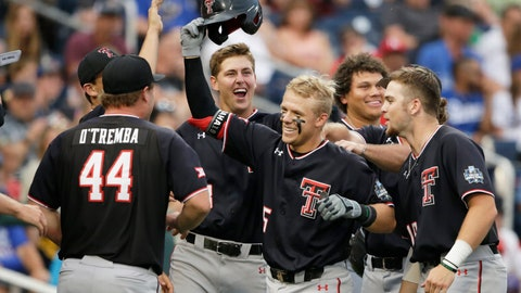 <p>               Texas Tech's Brian Klein, third from right, celebrates his solo home run against Florida State in the sixth inning of an NCAA College World Series baseball game in Omaha, Neb., Wednesday, June 19, 2019. (AP Photo/Nati Harnik)             </p>