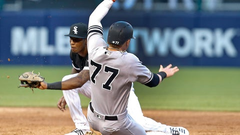 <p>               New York Yankees' Clint Frazier is caught stealing second base by Chicago White Sox shortstop Tim Anderson during the second inning of a baseball game Thursday, June 13, 2019, in Chicago. (AP Photo/Nuccio DiNuzzo)             </p>