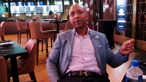<p>               Borgata president Marcus Glover speaks in the Atlantic City, N.J. casino's new sports betting lounge, Friday, june 28, 2019, which opens to public on Saturday. The Borgata and Bally's casinos are opening expanded sportsbooks worth more than $20 million. (AP Photo/Wayne Parry)             </p>