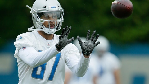 <p>               Detroit Lions wide receiver Jermaine Kearse (87) makes a catch during NFL football training camp Thursday, June 6, 2019, in Allen Park, Mich. (AP Photo/Duane Burleson)             </p>