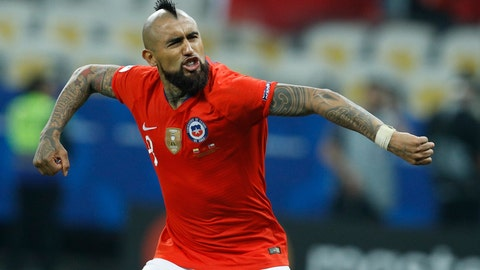 <p>               Chile's Arturo Vidal celebrates scoring a goal during penalty kick shoot-out against Colombia at a Copa America quarterfinal soccer match at the Arena Corinthians in Sao Paulo, Brazil, Friday, June 28, 2019. (AP Photo/Victor R. Caivano)             </p>