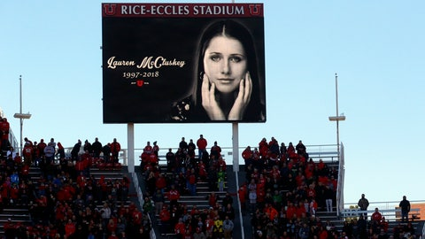 <p>               FILE - In this Nov. 10, 2018, file photo, a photograph of University of Utah student and track athlete Lauren McCluskey, who was fatally shot on campus, is projected on the video board before the start of an NCAA college football game between Oregon and Utah in Salt Lake City. The family of a University of Lauren McCluskey sued the institution on Thursday, June 27, 2019, saying officials have refused to take responsibility for missing chances to prevent her death despite multiple reports to police. (AP Photo/Rick Bowmer, File)             </p>