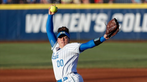 <p>               UCLA's Rachel Garcia pitches against Oklahoma during the first inning of Game 2 of the best-of-three championship series in the NCAA softball Women's College World Series in Oklahoma City, Tuesday, June 4, 2019. (AP Photo/Alonzo Adams)             </p>