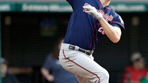 <p>               Minnesota Twins' Max Kepler watches his two-run home run off Cleveland Indians starting pitcher Trevor Bauer during the third inning of a baseball game Thursday, June 6, 2019, in Cleveland. (AP Photo/Tony Dejak)             </p>