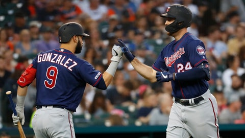 <p>               Minnesota Twins' C.J. Cron (24) celebrates his solo home run with Marwin Gonzalez (9) in the sixth inning of a baseball game against the Detroit Tigers in Detroit, Friday, June 7, 2019. (AP Photo/Paul Sancya)             </p>