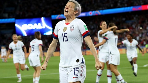 <p>               United States' Megan Rapinoe, center, celebrates after scoring her side's second goal during the Women's World Cup quarterfinal soccer match between France and the United States at the Parc des Princes, in Paris, Friday, June 28, 2019. (AP Photo/Francisco Seco)             </p>