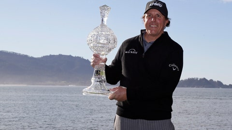 <p>               FILE - In this Feb. 11, 2019, file photo, Phil Mickelson poses with his trophy on the 18th green of the Pebble Beach Golf Links after winning the AT&T Pebble Beach Pro-Am golf tournament in Pebble Beach, Calif. At Pebble Beach, a course teeming with history for Mickelson, the 48-year-old, five-time major champion will come face to face with what might be his last, best chance to win the U.S. Open and become the sixth player to complete the career Grand Slam.  (AP Photo/Eric Risberg, File)             </p>