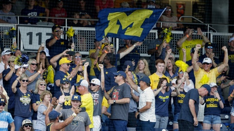 <p>               Michigan fans cheer in the stands following the team's NCAA College World Series baseball elimination game against Texas Tech in Omaha, Neb., Friday, June 21, 2019. Michigan won 15-3. (AP Photo/Nati Harnik)             </p>