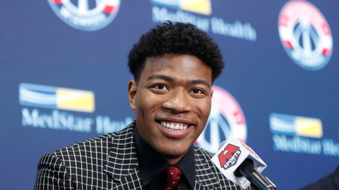 <p>               Washington Wizards basketball team introduce Rui Hachimura, the team's first-round pick in the 2019 NBA Draft during a press conference at Capital One Arena in Washington, Friday, June 21, 2019. (AP Photo/Pablo Martinez Monsivais)             </p>