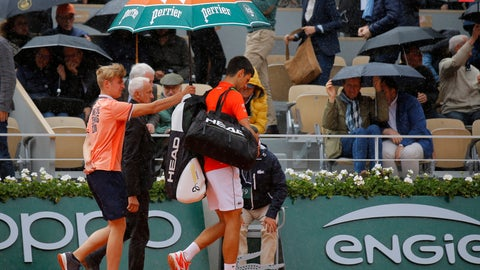 <p>               Serbia's Novak Djokovic walks towards the locker rooms for a brief interruption because of the rain during his semifinal match of the French Open tennis tournament against Austria's Dominic Thiem at the Roland Garros stadium in Paris, Friday, June 7, 2019. (AP Photo/Michel Euler)             </p>