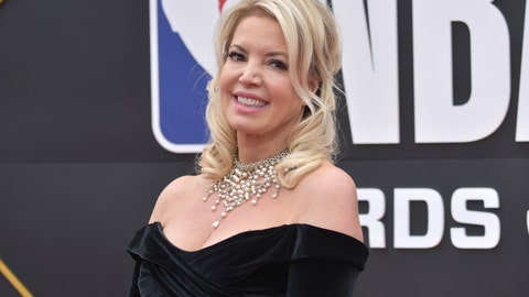 <p>               Jeanie Buss, president of the Los Angeles Lakers, arrives at the NBA Awards on Monday, June 24, 2019, at the Barker Hangar in Santa Monica, Calif. (Photo by Richard Shotwell/Invision/AP)             </p>