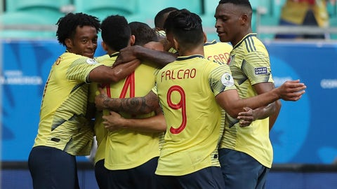 <p>               Colombia soccer players celebrate Gustavo Cuellar's goal against Paraguay during a Copa America Group B soccer match at the Arena Fonte Nova in Salvador, Brazil, Sunday, June 23, 2019. (AP Photo/Ricardo Mazalan)             </p>