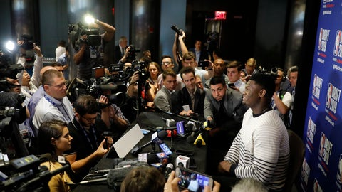 <p>               Zion Williamson, a freshman basketball player from Duke, attends the NBA Draft media availability, Wednesday, June 19, 2019, in New York. The basketball draft will be held Thursday, June 20. (AP Photo/Mark Lennihan)             </p>