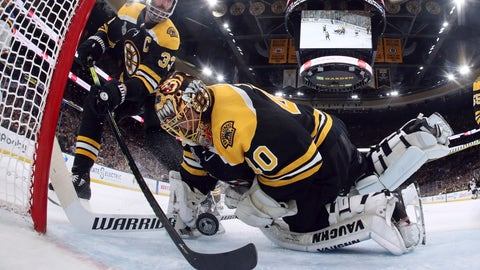 <p>               Boston Bruins' Zdeno Chara, left, of Slovakia, reaches behind goaltender Tuukka Rask, of Finland, to keep the puck from crossing the goal line during the second period in Game 7 of the NHL hockey Stanley Cup Final against the St. Louis Blues, Wednesday, June 12, 2019, in Boston. (Bruce Bennett/Pool via AP)             </p>