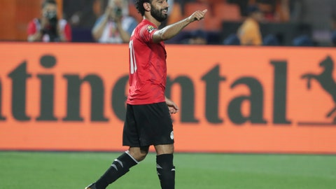 <p>               Egypt's Mohamed Salah reacts after he scored during the group A soccer match between Egypt and DR Congo at the Africa Cup of Nations at Cairo International Stadium in Cairo, Egypt, Wednesday, June 26, 2019. (AP Photo/Hassan Ammar)             </p>