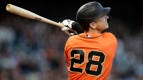 <p>               San Francisco Giants' Buster Posey watches his RBI double off Arizona Diamondbacks' Merrill Kelly during the third inning of a baseball game Friday, June 28, 2019, in San Francisco. (AP Photo/Ben Margot)             </p>