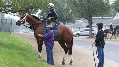 <p>               Maximum Security, ridden by exercise rider Edelberto Rivas up, pauses after a morning gallop as assistant trainer Jose Hernandez and Jason Servis, right, to look on at Monmouth Park, Thursday, June 13, 2019, in Oceanport, N.J. Maximum Security will make his next start in Sunday's $150,000 Pegasus Stakes horse race at the track. (Bill Denver/EQUI-PHOTO via AP)             </p>