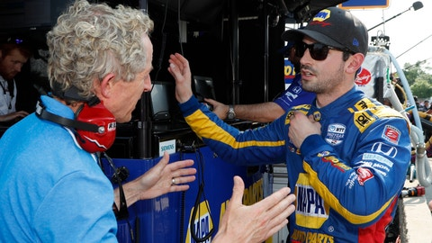 <p>               Alexander Rossi, right, talks to a media member after a practice session for the first race of the IndyCar Detroit Grand Prix auto racing doubleheader, Friday, May 31, 2019, in Detroit. (AP Photo/Carlos Osorio)             </p>