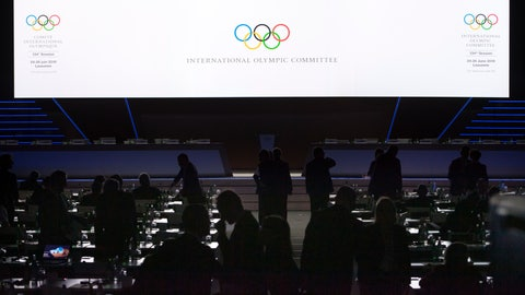 <p>               IOC members arrive for the first day of the 134th Session of the International Olympic Committee (IOC), at the SwissTech Convention Centre, in Lausanne, Switzerland, Monday, June 24, 2019. The host city of the 2026 Olympic Winter Games will be decided during the134th IOC Session. Stockholm-Are in Sweden and Milan-Cortina in Italy are the two candidate cities for the Olympic Winter Games 2026. (Laurent Gillieron/Keystone via AP)             </p>