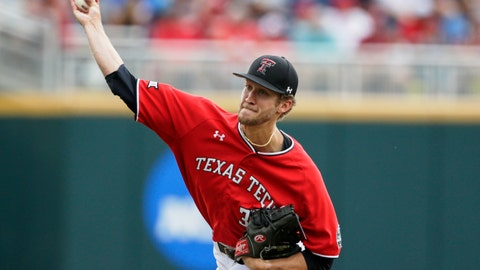 <p>               Texas Tech starting pitcher Caleb Kilian (32) delivers against Arkansas in the first inning of an NCAA College World Series baseball game in Omaha, Neb., Monday, June 17, 2019. (AP Photo/Nati Harnik)             </p>