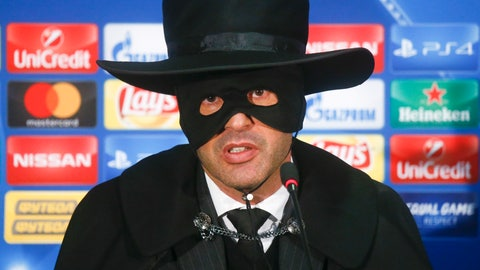 <p>               FILE - In this Wednesday, Dec. 6, 2017 file photo, Shakhtar coach Paulo Fonseca, dressed as Zorro, attends a press conference after victory for his team in the Champions League group F soccer match between Manchester City and Shakhtar Donetsk at the Metalist Stadium in Kharkiv, Ukraine. Portuguese coach Fonseca, who won fame for dressing up as Zorro after beating Manchester City in the Champions League in 2017, has won three consecutive league titles in Ukraine with Shakhtar. The club hasn't been able to return to its home city of Donetsk since 2014 because it's occupied by Russia-backed separatists. (AP Photo/Efrem Lukatsky, File)             </p>