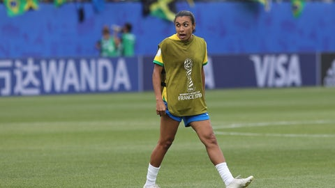 <p>               Brazil's Marta celebrates at the end of the Women's World Cup Group C soccer match between Brazil and Jamaica in Grenoble, France, Sunday, June 9, 2019. Marta has been ruled out for Brazil's opening match at the Women's World Cup because of a left thigh injury. (AP Photo/Laurent Cipriani)             </p>