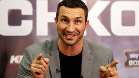 <p>               FILE - In this Wednesday, Dec. 14, 2016 file photo, boxer Wladimir Klitschko gestures during a press conference with Anthony Joshua to announce their unification fight for the IBF, IBO and WBA World Heavyweight titles at Wembley Stadium in London. Former heavyweight champion Wladimir Klitschko says his boat trip off Spain with family and friends was cut short after a fire broke out on board. The 43-year-old Ukrainian said in a tweet Tuesday June 25, 2019, the group was evacuated from the motor yacht in the Mediterranean Sea on Sunday night. (AP Photo/Alastair Grant, File)             </p>