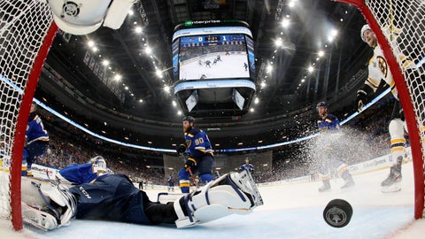 <p>               St. Louis Blues goaltender Jordan Binnington falls to the ice as a shot by Boston Bruins' Charlie Coyle, not shown, gets past him for a goal during the first period in Game 3 of the NHL hockey Stanley Cup Finals Saturday, June 1, 2019, in St. Louis. (Bruce Bennett/Pool via AP)             </p>
