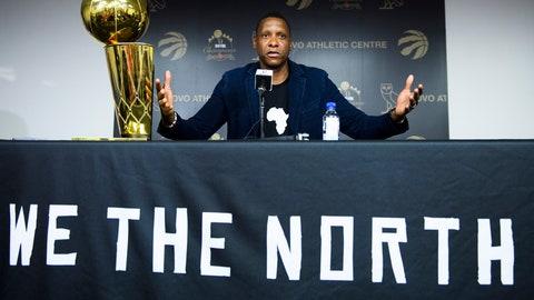 <p>               Toronto Raptors NBA basketball team president Masai Ujiri speaks to the media during an end-of-season press conference in Toronto, Tuesday, June 25, 2019. (Nathan Denette/The Canadian Press via AP)             </p>