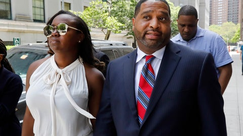 <p>               Former University of Arizona assistant men's basketball coach Emanuel Richardson leaves Manhattan federal court in New York, after he was sentenced on a bribery conspiracy charge in the college basketball recruiting scandal that hit major schools, Thursday, June 6, 2019. (AP Photo/Richard Drew)             </p>