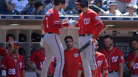 <p>               Washington Nationals' Trea Turner, front left, is congratulated at the dugout by Anthony Rendon after hitting a home run during the eighth inning of a baseball game against the San Diego Padres, Sunday, June 9, 2019, in San Diego. (AP Photo/Orlando Ramirez)             </p>
