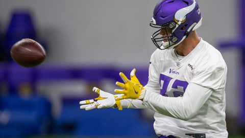 <p>               Minnesota Vikings tight end Kyle Rudolph makes a catch during drills at the team's NFL football training facility in Eagan, Minn. Tuesday, June 11, 2019. (AP Photo/Andy Clayton- King)             </p>