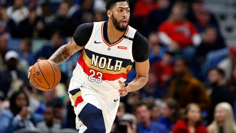 <p>               FILE - In this March 16, 2019, file photo, New Orleans Pelicans forward Anthony Davis brings the ball up during the first half of the team's NBA basketball game against the Phoenix Suns in New Orleans. Two people familiar with the situation say the Pelicans have agreed to trade Davis to the Los Angeles Lakers for point guard Lonzo Ball, forward Brandon Ingram, shooting guard Josh Hart and three first-round draft choices. The people spoke to The Associated Press on condition of anonymity because the trade cannot become official until the new league year begins July 6. ESPN first reported the trade.(AP Photo/Tyler Kaufman, File)             </p>
