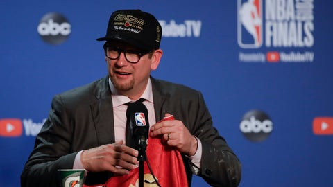 <p>               Toronto Raptors head coach Nick Nurse speaks at a news conference after the Raptors defeated the Golden State Warriors in Game 6 of basketball's NBA Finals in Oakland, Calif., Thursday, June 13, 2019. (AP Photo/Ben Margot)             </p>