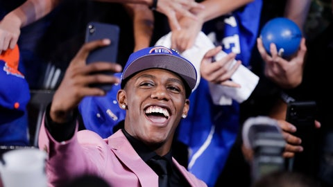 <p>               RJ Barrett poses for selfies with fans after he was selected by the New York Knicks at the NBA basketball draft Thursday, June 20, 2019, in New York. Barrett was selected third overall. (AP Photo/Julio Cortez)             </p>
