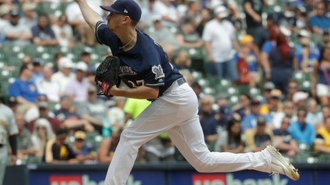 <p>               Milwaukee Brewers starting pitcher Zach Davies throws during the first inning of a baseball game against the Pittsburgh Pirates Saturday, June 8, 2019, in Milwaukee. (AP Photo/Morry Gash)             </p>