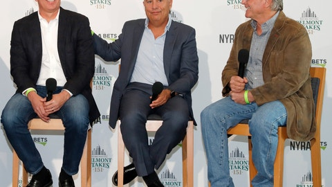 <p>               From left, Intrepid Heart and Spinoff trainer Todd Pletcher, left, sits beside War of Will trainer Mark Casse, center, and Tacitus trainer Bill Mott during a press conference following a draw ceremony for the 2019 Belmont Stakes race, Tuesday, June 4, 2019, in New York. (AP Photo/Kathy Willens)             </p>